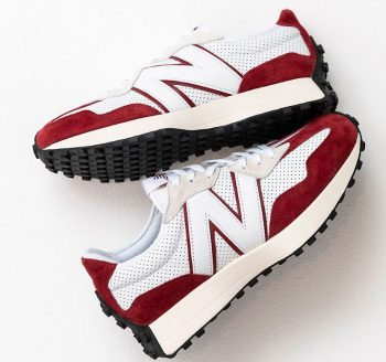 """New Balance 327 Premium """"White Red"""": Sale Price: $90 (Retail $120)  – FREE SHIPPING – use code:  – GAMETIME –  at checkout"""