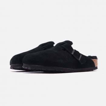 """Birkenstock Boston Shearling """"Black"""": Sale Price: $115.50 (Retail $165)  – FREE SHIPPING – use code:  – FAST30 –  at checkout"""