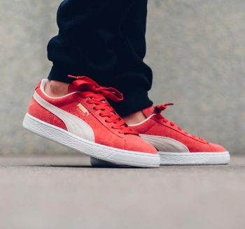 """Puma Suede Classic """"High Risk Red"""": Sale Price: $39.99 (Retail $65) – FREE SHIPPING  – use code:  – APR20 –  at checkout"""