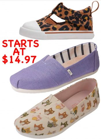 TOMS SHOES: Surprise Sale Up To 70% OFF! Women's Men's and Kids, Boots as well.Starting at $14.97,FS on $75.Passport Rewards Members earn Double Reward Points. $14.97