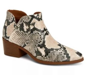 Women's Ankle Booties: Style & Co Vidyaa Ankle Booties $15, Sun + Stone Yuni (camo) $10 & More + 6% Slickdeals Cashback + Free Store Pickup at Macy's or FS on $25+