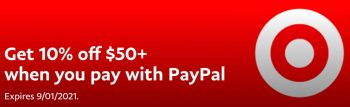 Paypal Deals: Get 10% off your next $50+ purchase at Target