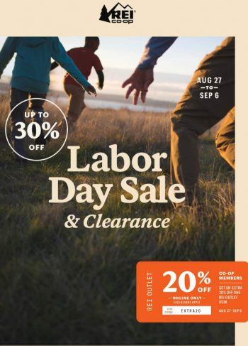 REI Labor Day 2021 20% off Outlet item 30% off REI clothing $1