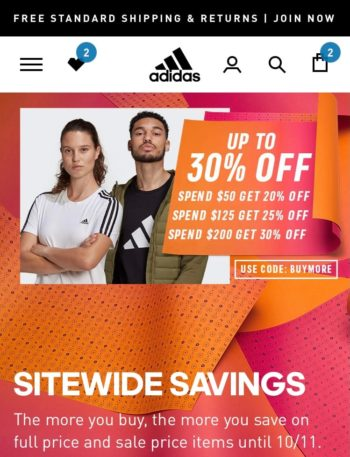 Adidas Buy More Save More Event :Spend $50 Get 20% Off,Spend $125 Get 25% Off,Spend $200 Get 30% Off